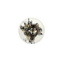 Watercolor Wolf Mountain Art Mini Button (10 pack)