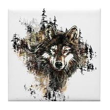 Watercolor Wolf Mountain Art Tile Coaster