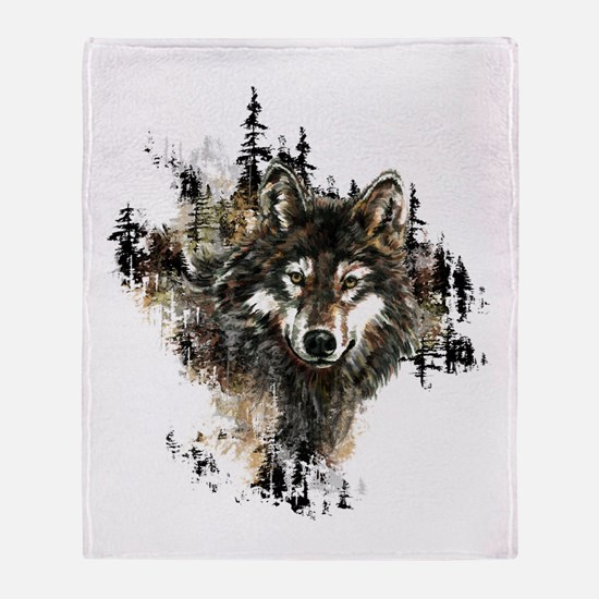 Watercolor Wolf Mountain Art Throw Blanket