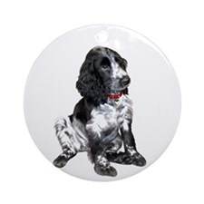 Eng. Springer Pup (bw) Ornament (Round)