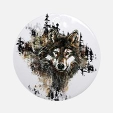 Watercolor Wolf Mountain Art Ornament (Round)