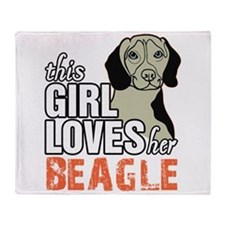 This Girl Loves Her Beagle Throw Blanket
