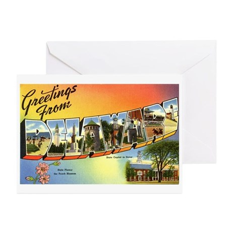 Greetings from Delaware Greeting Cards (Package of
