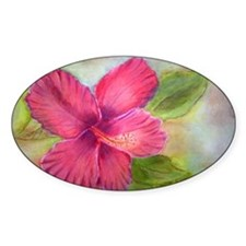 """""""Kauai Hibiscus"""" Oval Decal"""