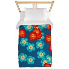Blue and red hibiscus Twin Duvet