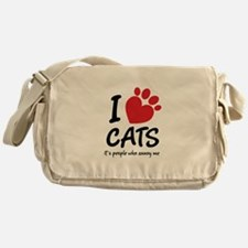 I Love Cats It's People Who Annoy Me Messenger Bag