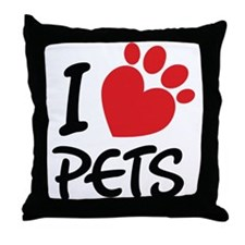 I Love Pets Throw Pillow