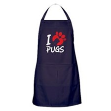 I Love Pugs Apron (dark)