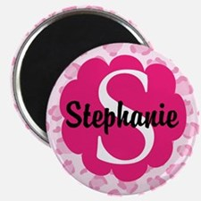 Personalized Pink Name Monogram Gift Magnets