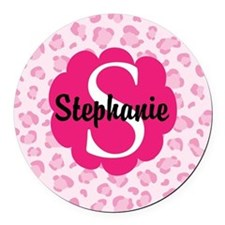 Personalized Pink Name Monogram Gift Round Car Mag