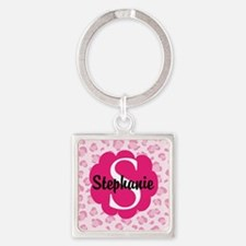 Personalized Pink Name Monogram Gift Keychains