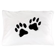 Pair Of Black Paw Pillow Case