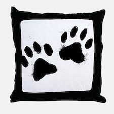 Pair Of Black Paw Throw Pillow