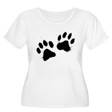Pair Of Black Paw Plus Size T-Shirt