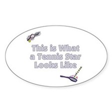 This is a Tennis Star Oval Decal