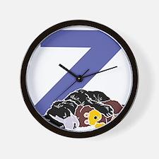 Puppy Letter Z Wall Clock
