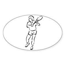 Tennis Player Silhouette Oval Decal