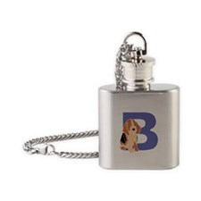 Puppy Letter B Flask Necklace