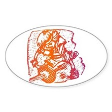 Abstract Tennis Player Oval Decal
