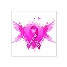 "Pink Ribbon Wings Square Sticker 3"" x 3"""