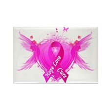 Pink Ribbon Wings Rectangle Magnet