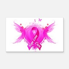 Pink Ribbon Wings Rectangle Car Magnet