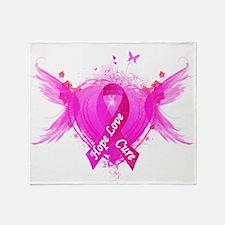 Pink Ribbon Wings Throw Blanket