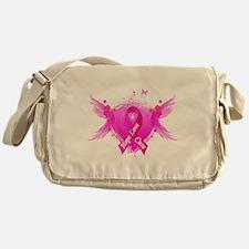 Pink Ribbon Wings Messenger Bag