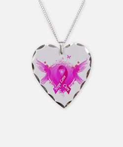 Pink Ribbon Wings Necklace Heart Charm