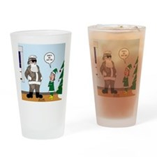 Santa in Camouflage Drinking Glass