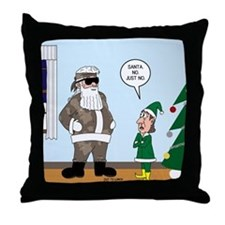 Santa in Camouflage Throw Pillow