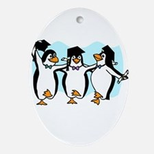 Graduation Dancing Penguins Ornament (Oval)