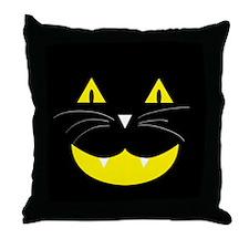 Black Cat Smile Throw Pillow