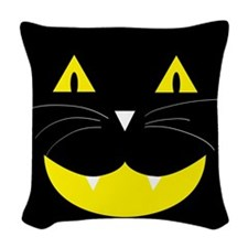 Black Cat Smile Woven Throw Pillow