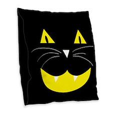 Black Cat Smile Burlap Throw Pillow
