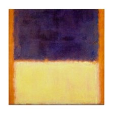 rothko-orange box with purple & yellow Tile Coaste