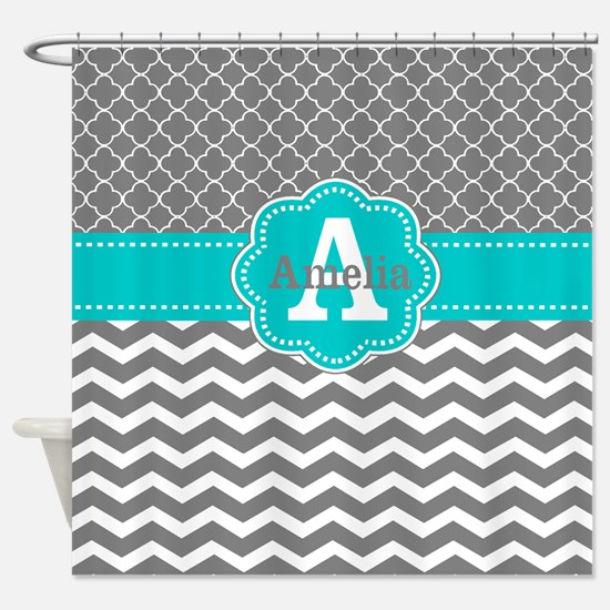 gray and teal shower curtain. Gray Teal Chevron Personalized Shower Curtain Quatrefoil Curtains  CafePress