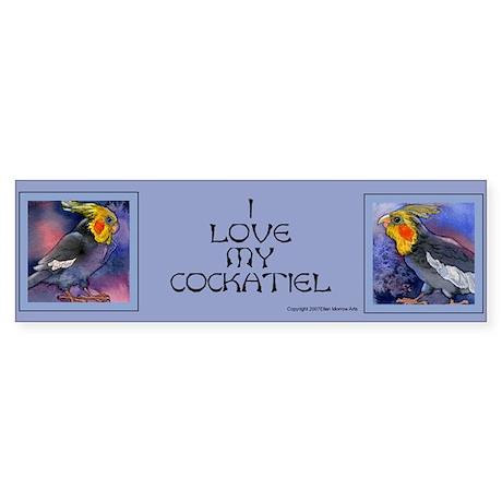 """""""I Love My Cockatiel"""" Parrots Bumper Sticker"""