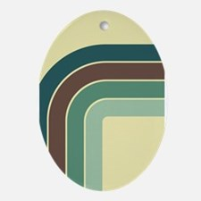 Retro Blue-Green Curve Ornament (Oval)