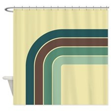 Retro Blue-Green Curve Shower Curtain