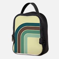 Retro Blue-Green Curve Neoprene Lunch Bag