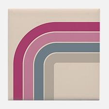 Retro Vintage Pink Curve Tile Coaster
