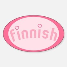 """""""Finnish with Hearts"""" Oval Decal"""