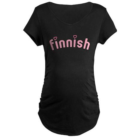 """Finnish with Hearts"" Maternity Dark T-Shirt"