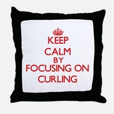 Keep Calm by focusing on Curling Throw Pillow