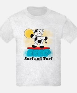 Surfing Cow Red Surfboard Kids Grey T-Shirt