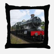 Vintage steam engine by Tom Conway Ar Throw Pillow