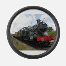 Vintage steam engine by Tom Conwa Large Wall Clock