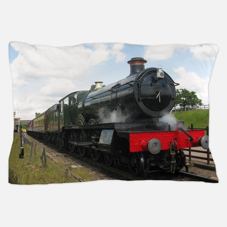 Vintage steam engine by Tom Conway Art Pillow Case