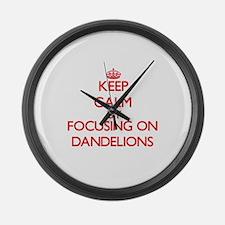 Keep Calm by focusing on Dandelio Large Wall Clock